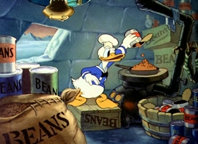 Screenshots from the 1938 Disney cartoon Polar Trappers