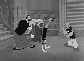 Screenshots from the 1938 Fleischer Studio cartoon Learn Polikness