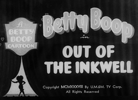 Screenshots from the 1938 Fleischer Studio cartoon Out of the Inkwell