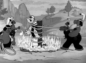 Screenshots from the 1938 Fleischer Studio cartoon Big Chief Ugh-Amugh-Ugh