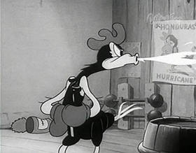 Screenshots from the 1938 MGM cartoon Honduras Hurricane