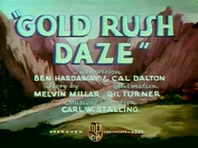 Screenshots from the 1939 Warner Brothers cartoon Gold Rush Daze