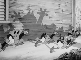 Screenshots from the 1939 Warner Brothers cartoon Chicken Jitters