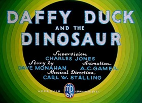 Screenshots from the 1939 Warner Brothers cartoon Daffy Duck and the Dinosaur