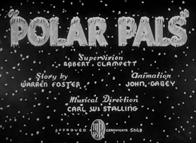 Screenshots from the 1939 Warner Brothers cartoon Polar Pals