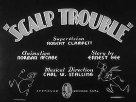 Screenshots from the 1939 Warner Brothers cartoon Scalp Trouble