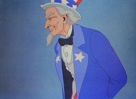 Screenshots from the 1939 Warner Brothers cartoon Old Glory