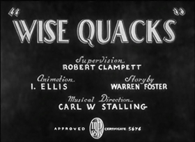 Screenshots from the 1939 Warner Bros. cartoon Wise Quacks