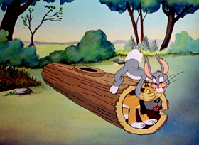 Screenshots from the 1939 Warner Brothers cartoon Hare-Um Scare-Um