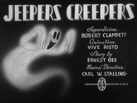 Screenshots from the 1939 Warner Brothers cartoon Jeepers Creepers