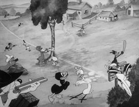 Screenshots from the 1939 Warner Brothers cartoon Naughty Neighbors