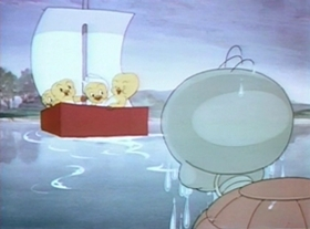 Screenshots from the 1939 Warner Brothers cartoon The Good Egg