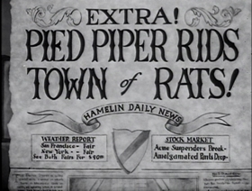 Screenshots from the 1939 Warner Brothers cartoon Pied Piper Porky