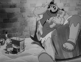 Screenshots from the 1939 Warner Brothers cartoon Porky the Giant Killer
