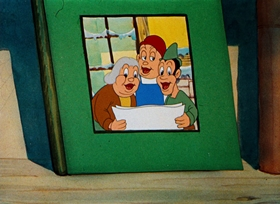 Screenshots from the 1939 Warner Brothers cartoon Sniffles and the Bookworm