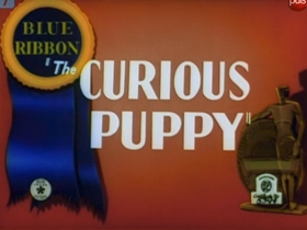 Screenshots from the 1939 Warner Brothers cartoon Curious Puppy