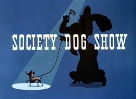 Screenshots from the 1939 Disney cartoon Society Dog Show