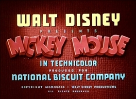 Screenshots from the 1939 Disney cartoon Mickey