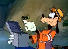 Screenshots from the 1939 Disney cartoon Goofy and Wilbur