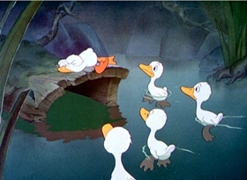 Screenshots from the 1939 Disney cartoon The Ugly Duckling