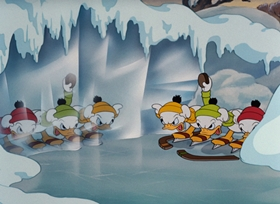 Screenshots from the 1939 Disney cartoon The Hockey Champ