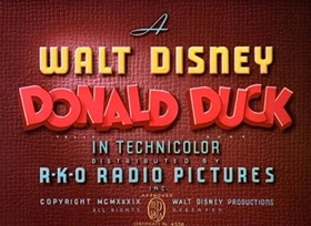 Screenshots from the 1939 Disney cartoon Officer Duck