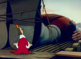 Screenshots from the 1939 Fleischer Studio cartoon Gulliver