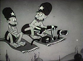 Screenshots from the 1939 Walter Lantz cartoon Crackpot Cruise