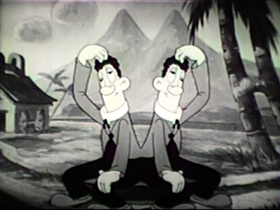 Screenshots from the 1939 Walter Lantz cartoon Bolo-Mola Land