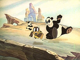 Screenshots from the 1939 Walter Lantz cartoon Life Begins for Andy Panda
