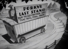 Screenshots from the 1940 Warner Brothers cartoon Porky