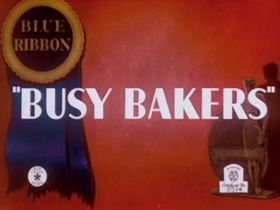 Screenshots from the 1940 Warner Brothers cartoon Busy Bakers