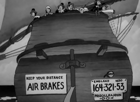 Screenshots from the 1940 Warner Brothers cartoon Pilgrim Porky