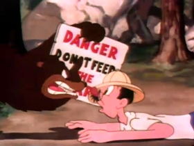 Screenshots from the 1940 Warner Brothers cartoon Cross Country Detours