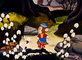 Screenshots from the 1940 Warner Brothers cartoon Sniffles Takes a Trip