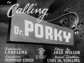 Screenshots from the 1940 Warner Brothers cartoon Calling Dr. Porky