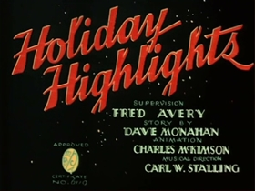 Screenshots from the 1940 Warner Brothers cartoon Holiday Highlights