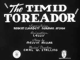 Screenshots from the 1940 Warner Brothers cartoon The Timid Toreador
