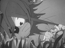 Screenshots from the 1940 Columbia cartoon Mouse Meets Lion
