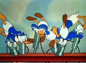 Screenshots from the 1940 Disney cartoon The Riveter
