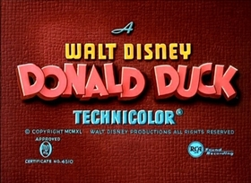 Screenshots from the 1940 Disney cartoon Mr. Duck Steps Out