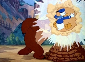 Screenshots from the 1940 Disney cartoon Donald