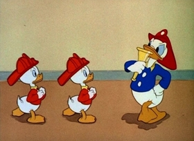 Screenshots from the 1940 Disney cartoon The Fire Chief