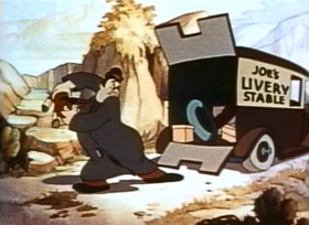 Screenshots from the 1940 Fleischer Studio cartoon A Kick in Time