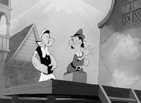 Screenshots from the 1940 Fleischer Studio cartoon Popeye Meets William Tell