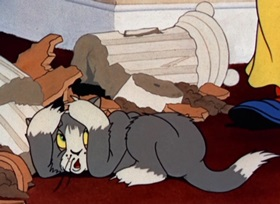 Screenshots from the 1940 MGM cartoon Puss Gets the Boot