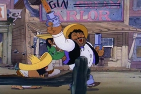 Screenshots from the 1940 MGM cartoon The Lonesome Stranger