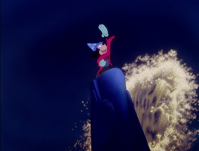 Screenshots from the 1940 Disney cartoon The Sorcerer