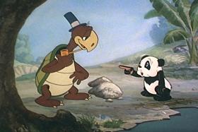 Screenshots from the 1940 Walter Lantz cartoon Andy Panda Goes Fishing