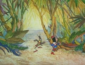 Screenshots from the 1940 Walter Lantz cartoon Adventures of Tom Thumb Jr.
